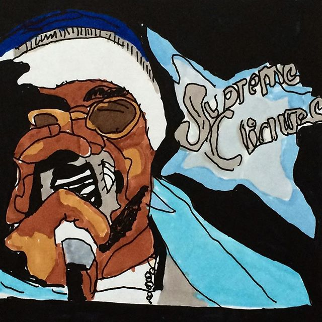 "In my personal top 5 faves of Lenox's pieces. ""Supreme Clientele"" turns 16 today. Another @upnorthtrips commission. Signed prints of this are available at YUNGLENOX.BIGCARTEL.COM (link in bio)"